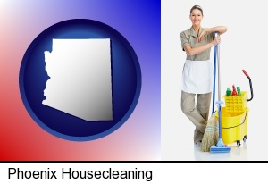 a woman cleaning house in Phoenix, AZ