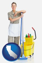 california a woman cleaning house