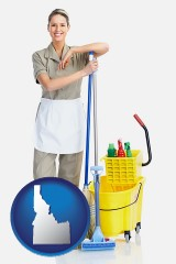 idaho a woman cleaning house