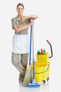 a woman cleaning house
